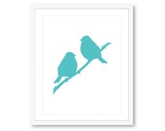 Birds on Branch Print - Perched Birds - Blue Bird Wall Art - Blue Bird Print - Bird Decor - Modern Birds Print - 8x10 print on 8.5x11