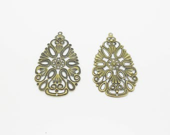 2 prints 48 x 28 mm antique bronze filigree drop