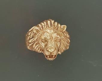 Classic Lion Ring in Antique Bronze