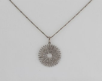0.57ct - Round Diamonds 14K White Gold Round Diamonds Medium Wheel Pendant - CUSTOM MADE
