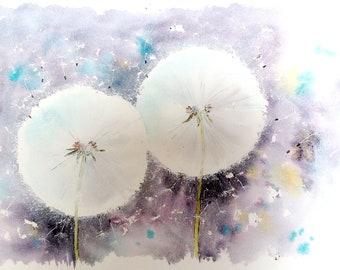 Dandelion Clocks Watercolour painting project