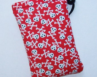 """Pipe Pouch, Skulls Bag, Red Pipe Case, Glass Pipe Bag, Padded Pipe Pouch, Stoner Gifts, 420, Weed, Pothead, Smoke Accessory - 5"""" DRAWSTRING"""