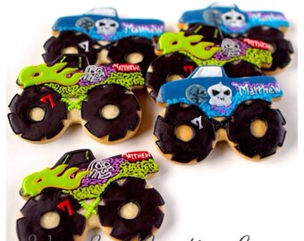 Half Dz. Monster Truck Cookies! MULTIPLE PHOTOS!! Perfect Party Favor for Boys! LARGE and In Charge!