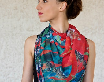 Women scarf, Elegant red scarf, Leaf floral scarf, Printed scarf, Soft colorful scarf, Square scarf, Art scarf, Unique gift, Gift for her