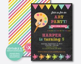 Instant Download, Editable Art Birthday Invitation, Art Invitation, Art Party Invitation, Painting Invitation, Artist, Chalkboard (CKB.88)