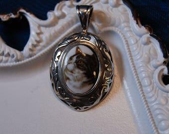 Jezlaine Vintage Sterling Feline  Kitty Cat Cameo Art Noveau Oval Pendant #BKB-KCHRM280