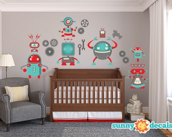 Robot Wall Decal Jumbo Nursery and Kids Rooms with Seven Large Robots, Gears, & More by Sunny Decals - Free Shipping