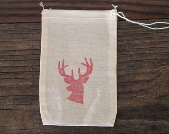 Deer Antler Favor Bag Christmas Party Favor Cloth Gift Bag Muslin Bag Wedding Welcome Rustic Hunting Outdoors Baby Shower Jewelry Soap
