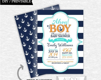 Navy, Turquoise, Orange Boy Baby Shower invitation Nautical baby Shower DIY Printable (PDNMO005)