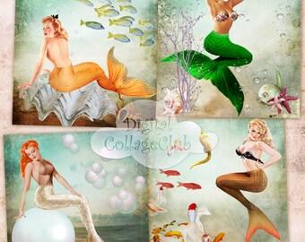Vintage Mermaids Digital Collage Sheet Large Images for Coasters, Greeting Cards, Digital Background, Card Making, Decoupage