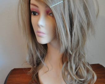 Wavy & Straight Layered Wig in Ash Blonde