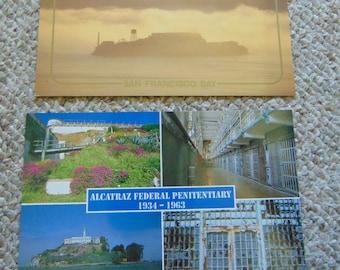 2 Vintage Postcards Alcatraz federal Penitentiary Prison Ephemera