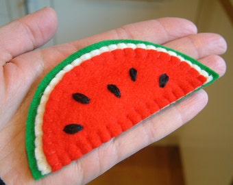 Brooch - Felt Watermelon Slice - Wool Felt - Decoration - Watermelon