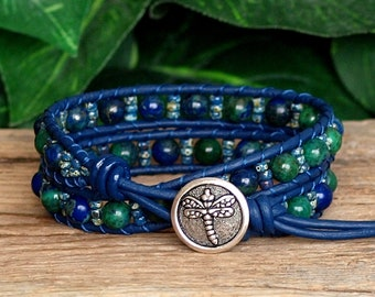 Blue and Green Gemstone Beaded Leather Wrap Bracelet, Azurite Malachite and Seed Bead Bracelet, Artisan Jewelry For Her, Dragonfly Bracelet