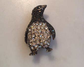 Vintage sterling silver rhinestone and marcasite penguin brooch
