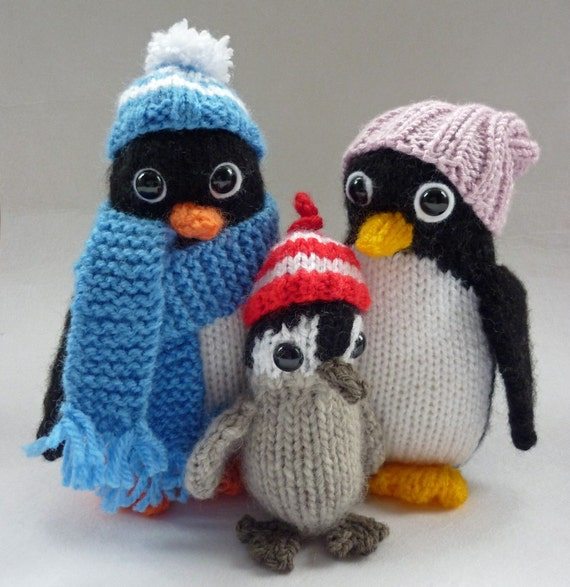 Penguin Knitting Pattern Knitted Penguin Pattern Penguin Toy