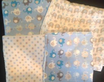 Baby Blanket Gift Set -  Blue/Grey Elephant set