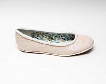 Tiny Sequin | Starlight Ivory White Ballet Flat Slipper Custom Shoes