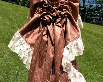 Bronze Mauve Silk Tie on adjustable Cindy Bustle Skirt Victorian Steampunk Renaissance Special Occasion OS fits most