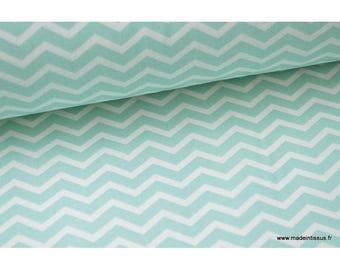 Fabric 100% cotton zig zag Chevron Mint .x1m pattern