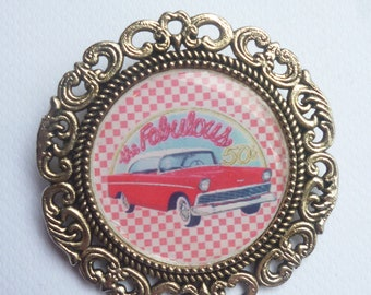 "Brooch round silver metal ""My convertible"""