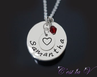 Heart Necklace - Personalized Necklace - Hand Stamped Necklace - Love Necklace - Mommy Jewelry - Couples Necklace - Name Necklace - Family
