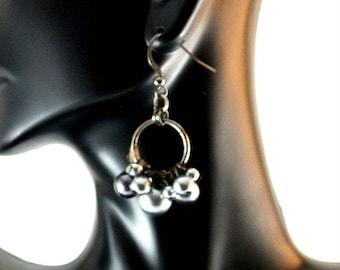 Gray Grey Silver Metal Bead Dangle Earrings Vintage Earrings Gray Bead Earrings Gray Earrings Silver Earrings Grey Earrings