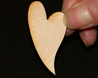 Unfinished Wood Heart Swirl Oblong - 2 inches tall by 1 inch wide and 1/8 inch thick wooden shape (HART17)