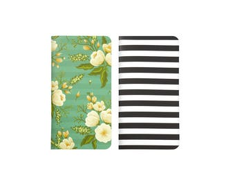 2 Travelers Notebook Inserts - Black & White Stripe and Green Floral - Insert for Dori - Journal your thoughts for your Bible Journalling!