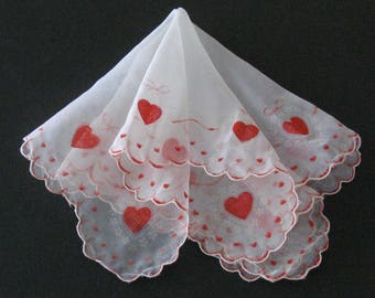 Vintage 1950s Mother's Day Valentines Handkerchief Red Flocked Hearts Ribbons Doves Sheer Hanky Valentine's Day Hanky Vintage Accessory