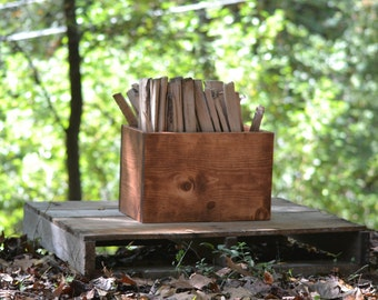 Kindling Box, Large Wooden Storage Box, Utility Box for Fireplace, Wood Centerpiece