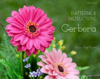 Crochet Gerbera PATTERN - Crochet Gerbera Daisy Flower Pattern - Crochet Flower Pattern - Gerbera Flower Pattern - Crochet Pattern