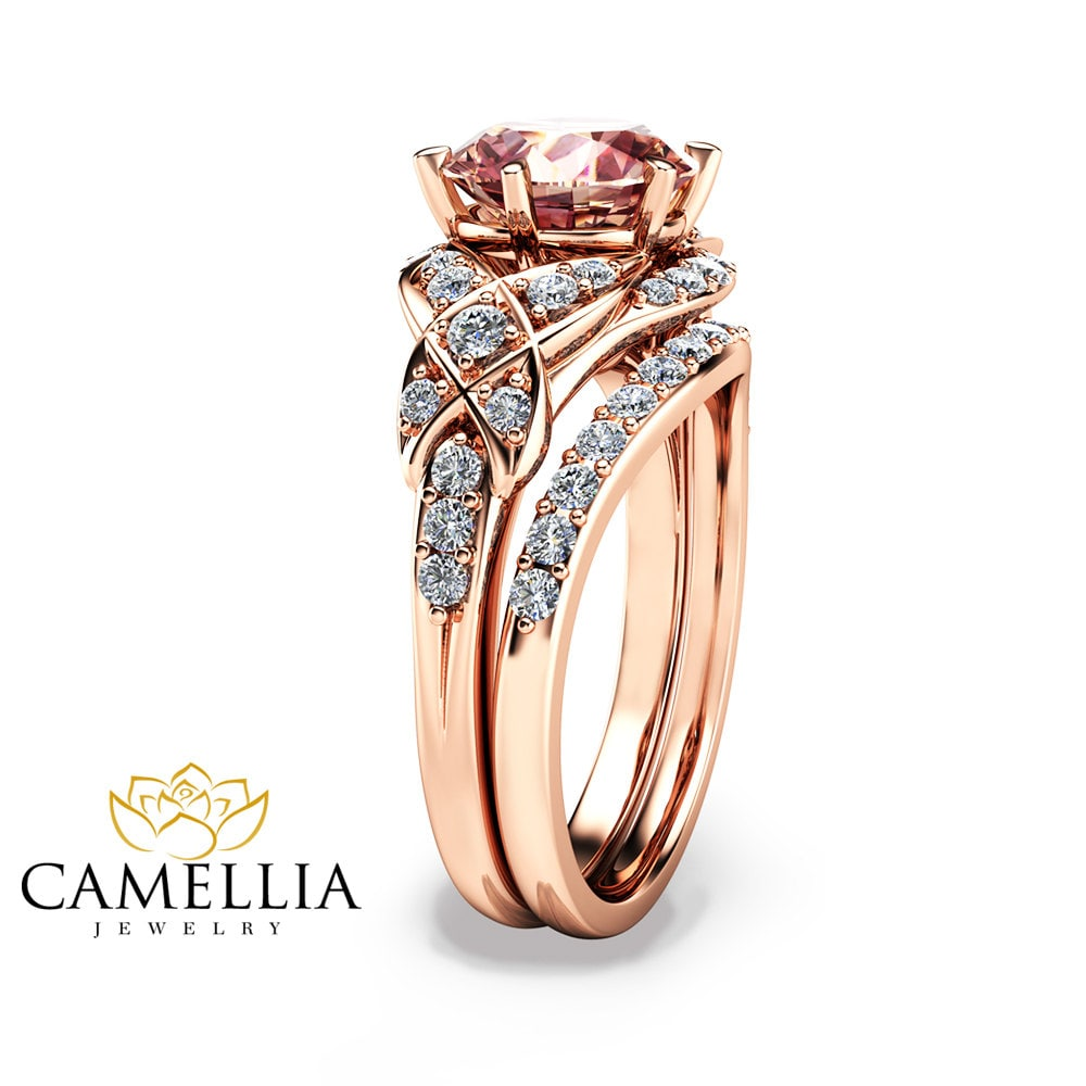 14K Rose Gold Engagement Ring Rose Gold Morganite Wedding