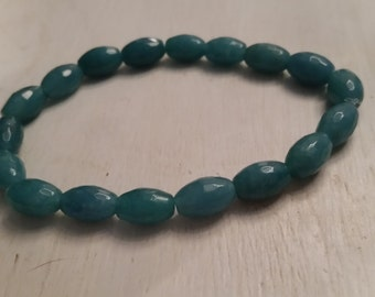 Teal Quartz Elasticated Rice Bead Bracelet