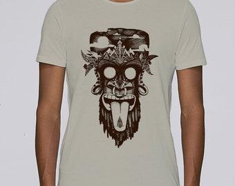 Hand Screenprinted T-shirt / monkey / Opal