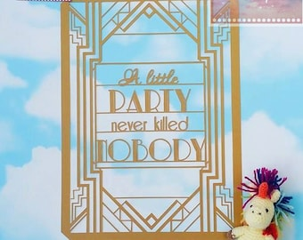 Art Deco Roaring 20s Papercut Template - Great Gatsby Inspired Commercial Use Quote