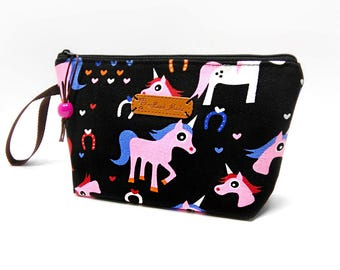 Unicorn Zipper Pouch, Cosmetic Bag, Makeup Bag, Toiletry Bag, Supply Bag, Purse Organizer, Zipper Wristlet, Black Pouch, Limited Fabric!