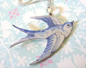 Faux Delf Blue China Swallow Bird Necklace