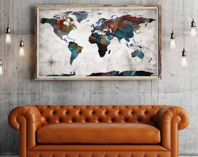 What a Wonderful World Poster Print, world map poster, world map art print, push pin map poster, push pin map print, world map detailed, map