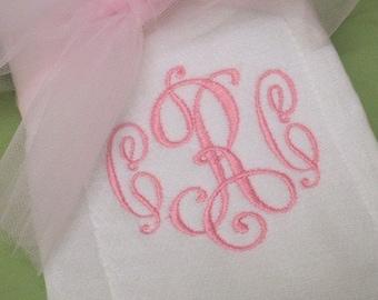 Monogrammed Baby Burp Cloth