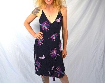 Vintage Malibu Media Floral 70s Rayon 1970s Wrap Dress