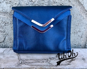 Double Flap Leather Evening Bag with Crossbody Strap