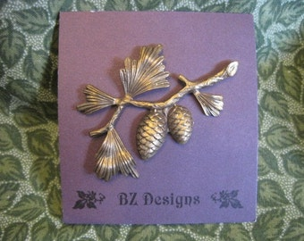 Pine Cone Branch Pin - Brushed Antique Gold or Antique Silver or moderately Shiny Antique Silver