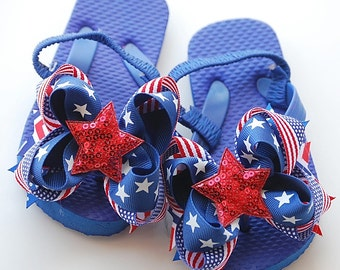 boutique STAR SPANGLED patriotic flip flops with attached bows