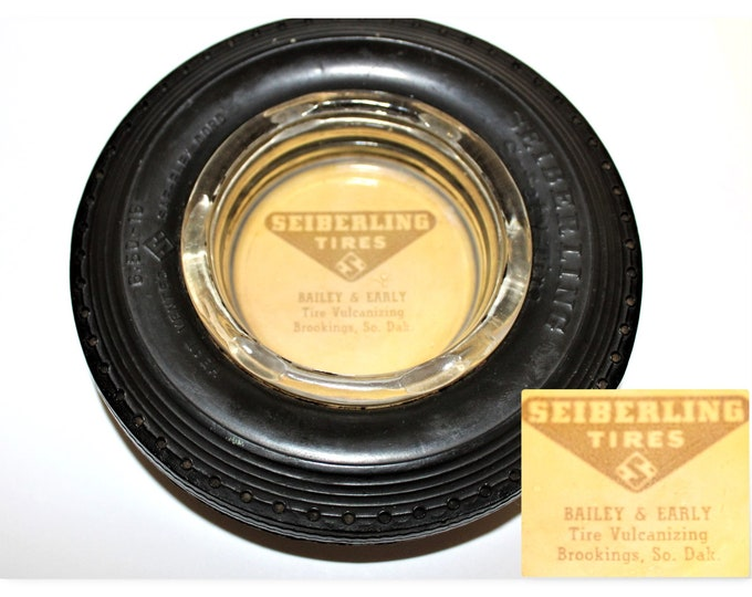 Vintage 1939 Seiberling Tire Advertising Ashtray, Bailey & Early Tire Vulcanizing Brookings So. Dak.