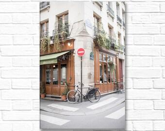 Paris Photography on Canvas - Au Bougnat Restaurant-Vertical, Gallery Wrapped Canvas, Classic Paris Architecture,  Large Wall Art