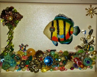 Gemscape Ocean Scene with Tropical Fish Swimming over Seabed of Jewels