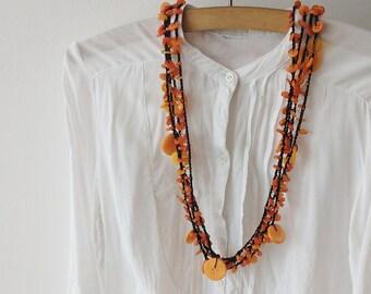 Orange Button Necklace / Button Jewelry / Multi Strand Necklace / Orange Necklace / Jewelry / Crochet Necklace / Orange Buttons / Orange