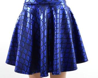 Royal Blue Mermaid Scale Skater Circle Skirt -E7845