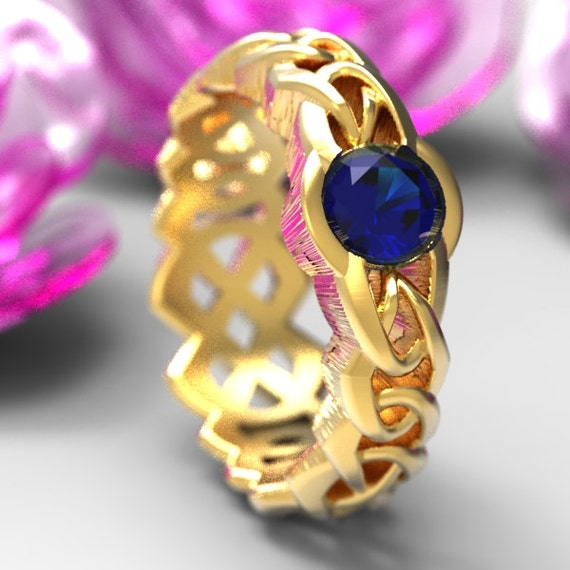 Gold Wedding Ring Celtic Cut-Through Knot Design with Blue Sapphire in 10K 14K 18K or Palladium, Made in Your Size Cr-1066c